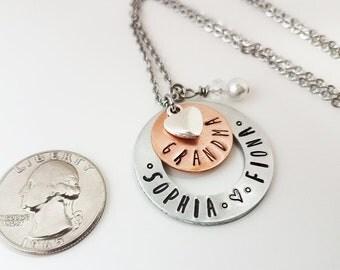 Grandma Necklace Hand Stamped Metal Jewelry Grandkids Necklace GiGi Jewelry Copper Personalized Custom Family Birthstones