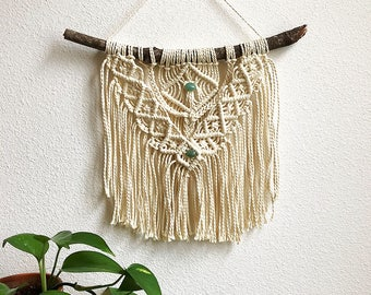 Medium Macrame Wall Hanging with Green Aventurine Crystals, Medium Woven Wall Hanging, Boho Hippie Tapestry Wall Hanging