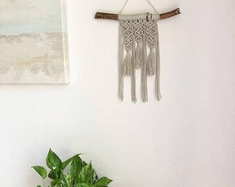 Small Macrame Wall Hanging, Small Woven Wall Hanging, Tapestry, Boho Hippie Tapestry Wall Hanging