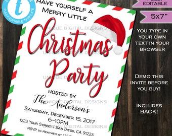 Invitations xmas etsy christmas party invitation happy holiday party merry white elephant gift exchange xmas printable custom solutioingenieria Images