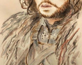 John Snow's Original watercolour portrait _ Ritratto acquerello originale fatto a mano di John Snow (Game of Thrones)_ home decor