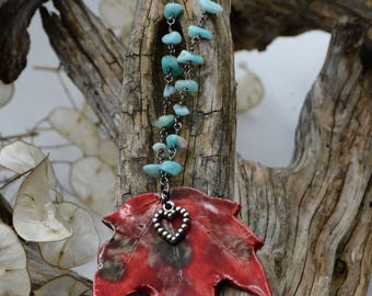 Red Ceramic Maple Leaf Necklace with Turquiose Chain Beaded Heart Charm