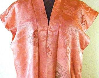 Vintage Japanese Silk Kimono Vest – Vintage Silk Vest, Handmade – Dark Coral Silk Vest, Family Crest - Japanese Silk Fabric – Japanese Art