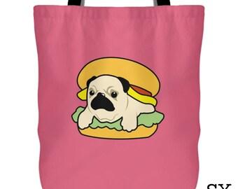 Hamburger Pug Tote Bag - Pug Bag, Pug Burger Tote Bag, Pug Burger Bag, Hamburger Pug Bag, Pug Tote Bag, Dog Tote Bag, Cute Pug Bag