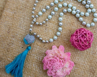 Blue pearl and tassel long necklace