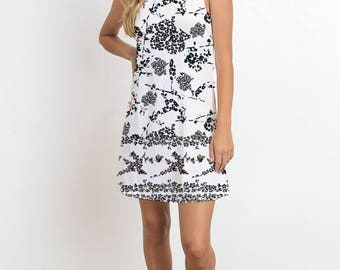 Black and White Mini Flowers Print Dress, Sleeveless Dress, Mini Dress, Casual Dress, Floral Pattern