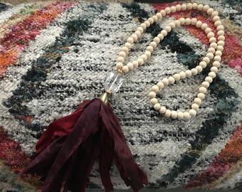 Burgundy maroon fabric tassel necklace / silk tassel necklace/ long tassel necklace