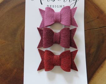 Plum and Red Felt Bow Set