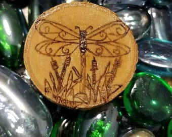 Dragonfly with cattail necklace