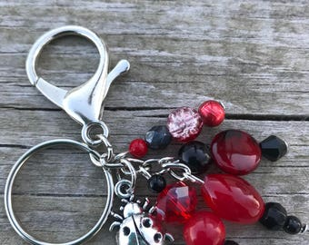 Keychains for Women, Bag Charm, Ladybug Gifts, Ladybug Keychain, Purse Charm for Handbags, Beaded Keychain, Beaded Bag Charm, Gifts for Her