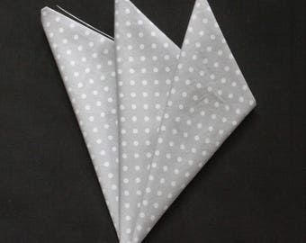 Hankie Pocket Square Handkerchief Silver Grey POLKA DOT.Premium Cotton UK Made