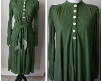 Vintage 1970s Moss Green Dress