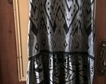 1990s handwoven silk Ikat dress