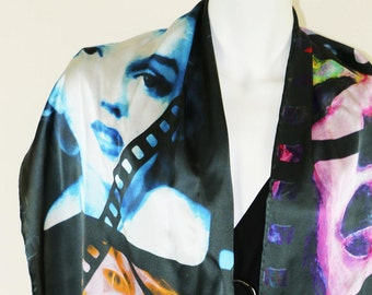 Silk Scarf, Marilyn Monroe, Wearable Art, Summer Scarf, Designer Scarf, Gift For Her, Scarf, Collectible,Digital Art, Art, Long Scarf