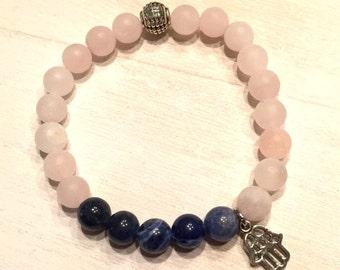 Rose quartz and sodalite gemstone bracelet