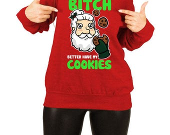 Funny Xmas Sweater Christmas Present Santa Claus Holiday Jumper Winter Pullover Merry X-Mas Off The Shoulder Slouchy Sweatshirt TEP-530
