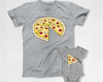 Dad And Son Gifts Matching Family T Shirts Father And Baby Shirt Daddy Daughter Outfits Dad And Baby Fathers Day Pizza TShirts TEP-126-125