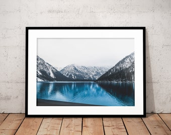 Mountain Lake Digital Print, Blue Water Home Decor, Nature Poster, Printable Photography, Landscape, Forest, Alps, Mountains, Wall Art