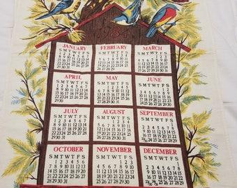 VINTAGE 1979 Calendar Tea Towel with Beautiful Birds