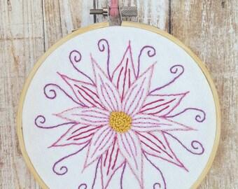 Dramatic Flower - Embroidery Hoop Art
