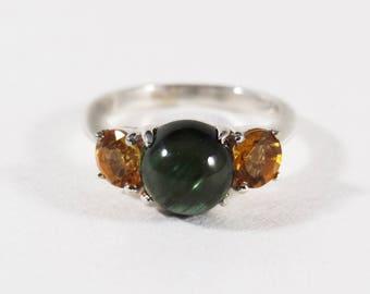 Sterling Silver Orange Sapphire Green Tourmaline Ring