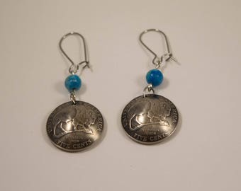 Unique buffalo earrings with Jade beads gift for wife, mother, daughter, sister, hand made, unique