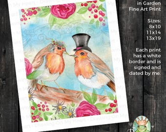 English Robins in Garden Fine Art Print - Original Hand Painted Watercolor and Colored Pencil - Love Birds - 8x10 - 11x14 - 13x19