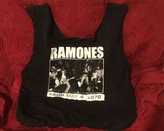 Tote bag made from a repurposed Ramones tee shirt