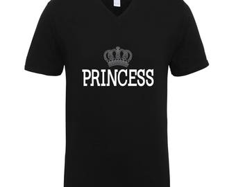 Princess with Crown Shirts Adult Unisex Men Size V Neck Best Seller T-Shirts Couple Goals Gifts