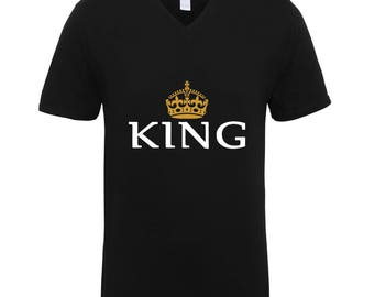 King with Gold Crown Shirts Adult Unisex Men Size V Neck Best Seller T-Shirts Couple Goals Gifts