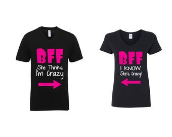 Valentine Gifts BFF She Thinks I'm Crazy I Know She's Crazy COUPLE Printed Adult V Neck Shirts Unisex VNeck T-Shirts for Men Women Matching