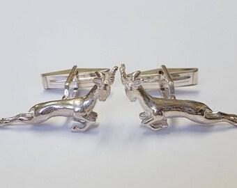Leaping Springbok cufflinks in .925 Sterling Silver