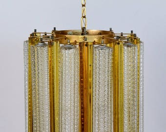 Murano Crystal glass CHANDELIER with TRILOBI glass from VENINI, 1950er