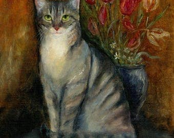 Tabby Kitten with Tulip Bouquet Original Oil Painting