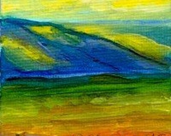Landscape Hills Original Miniature Acrylic Painting