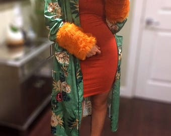 Faux Fur Removable Cuffs in Orange Shag // Fall Winter Fashion for Women // Boho Chic Accessories // Gifts for Her