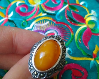 Antique Bee-honey Wax Baltic Amber Ring_free shipping