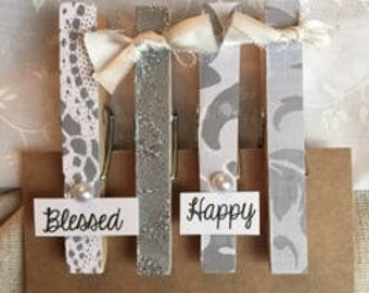 Clothespin Magnets- grey and white
