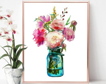 Mason jar print, mason jar wall art, floral home decor, floral print, mason jar decor, flower vase jar print, mother gift, ladies gift