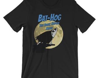 Hedgehog T-Shirt: Bat-Hog The Dark Hedgie Rises a Cute Funny Hedgehog Gift Short-Sleeve Unisex T-Shirt of Power by Urchin Wear