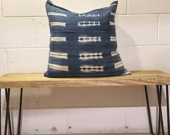 """21"""" shibori indigo vintage Mudcloth pillow cover"""