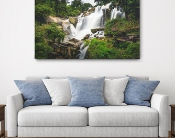Thailand Waterfall Canvas Print // Large Canvas Wrap, Nature Photography, Asia Decor Wall Art, Fine Art Photo, Mae Klang Falls Home Decor