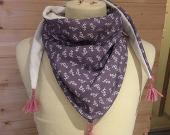 Scarf / kids purple and white child's scarf, Snood, child, fleece, cotton