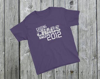 Causing CHAOS since 2012 T-Shirt, 6th Birthday, 6th Birthday Gift, kids birthday gift, perfect gift idea, unique gift idea, Birthday Party