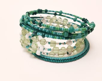 Hand Beaded Coil Bracelets - Multicolored