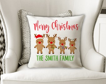 Christmas Family PILLOW, Reindeer Family Names Pillow, Reindeer Lover, Reindeer Personalized Christmas Gift for Her -Pillow Cover or Sewn