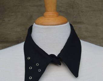 Asymmetrical black collar; eyelets; handmade; unique; necklace; accessory