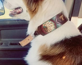 "The ""TANZY"" Western/ southwestern/ boho custom leather dog collar- made to order"
