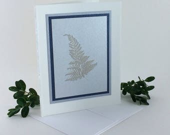 Silver fern on silver embossed blank card, individually handmade: holiday cards, winter, ferns, fine cards, SKU BLA21005