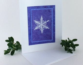 Snowflake on amethyst embossed blank card, individually handmade: A2, winter, notecards, fine cards, SKU BLA21034